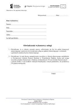 Oświadczenie wykonawcy usługi