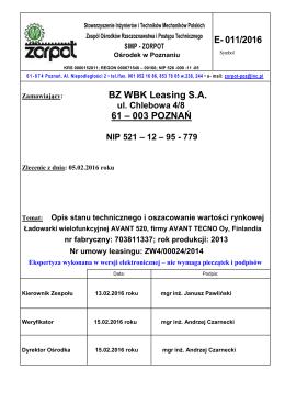 ZW4-00024-2014 Wycena ładowarki wielofunkcyjnej AVANT 520, r