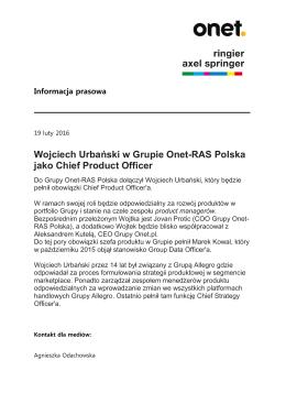 Wojciech Urbański w Grupie Onet-RAS Polska jako Chief Product