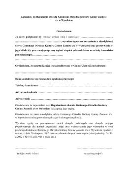 Załącznik do Regulamin obiektu Gminnego