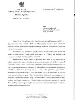 Pismo na Stały Komitet Rady Ministrów