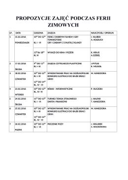 propozycje zajęć podczas ferii zimowych