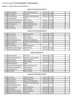 Terminarz rozgrywek III Ligi Małopolsko – Świętokrzyskiej RUNDA II