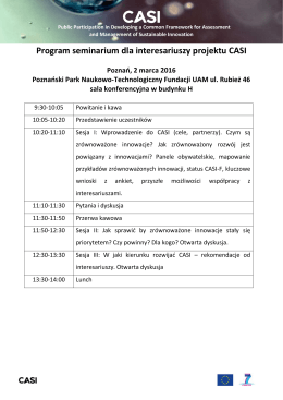 Program seminarium dla interesariuszy projektu CASI - Waste