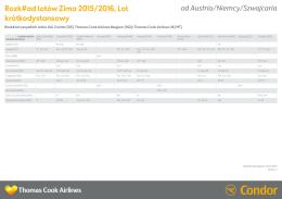 Rozkład lotów Zima 2015/2016, Lot krótkodystansowy