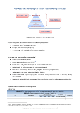 Priorytety, cele i harmonogram działań oraz monitoring i ewaluacja