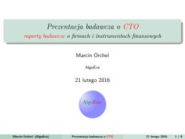 Prezentacja badawcza dla CTO