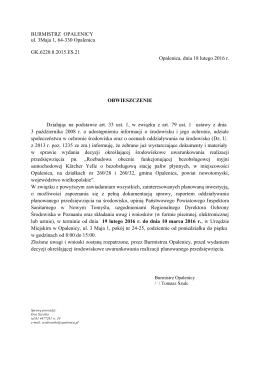 BURMISTRZ OPALENICY ul. 3Maja 1, 64