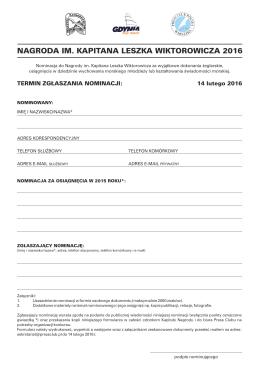 Nominacja do Nagrody im Leszk