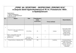 FERIE NA SPORTOWO 2016 - ZSO Nr1 Sedziejowice