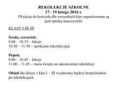 REKOLEKCJE SZKOLNE 17– 19 lutego 2016 r.