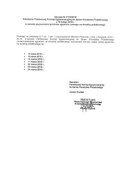 Decyzja Nr 211yl12016 etara Państwowej Komisji zacyne do Spraw