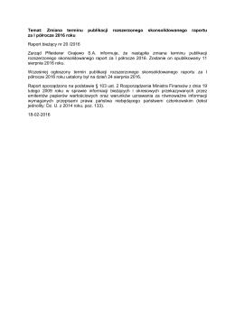 Temat: Zmiana terminu publikacji rozszerzonego