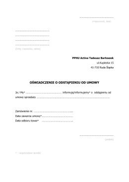 oświadczenie o odstąpieniu od umowy