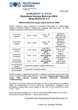 KOMUNIKAT nr 3/2016 - Wydział Elektrotechniki i Automatyki