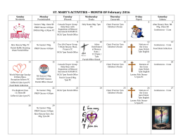 ST. MARY`S ACTIVITIES ~ MONTH OF February 2016