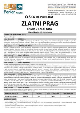 Prag Uskrs 2016, Prag 1.Maj 2016, Prag aranzmani Uskrs