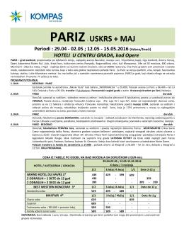 Grupni polazak 29.april i 12.maj, Cenovnik br.1 od 26.02