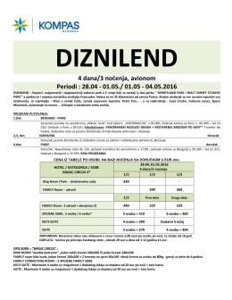 Grupni polasci Diznilend 28.april i 01.maj, Cenovnik br.1