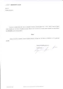 Odluke sa vanredne sednice Skupštine akcionara