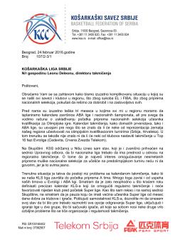 Писмо КЛС - Kosarkaski Savez Srbije