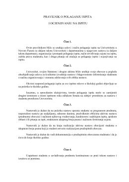 Pravilnik o polaganju ispita - Univerzitet u Novom Pazaru