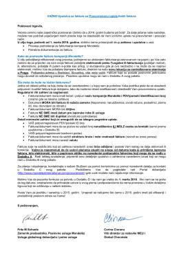 VAŽNO Uputstva za fakture za Pravovremenu uplatuVaših faktura