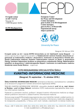 kvantno-informacione medicine - European Center for Peace and