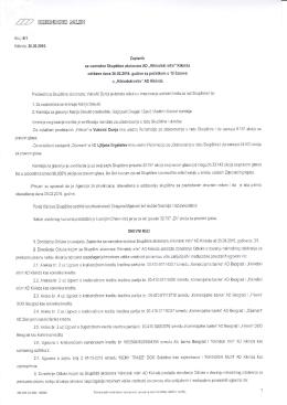 Zapisnik sa vanredne sednice Skupštine akcionara