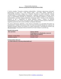 Prijavni obrazac – Preduzetnička akademija.