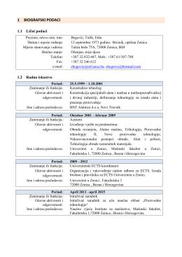 1 biografski podaci - Mašinski fakultet u Zenici