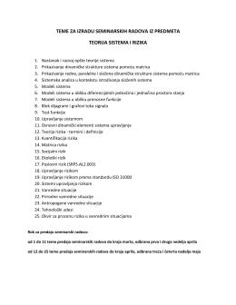 teme za izradu seminarskih radova iz predmeta teorija sistema i rizika