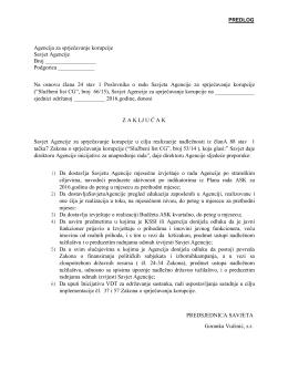 Agencija za sprječavanje korupcije Savjet Agencije Broj Podgorica