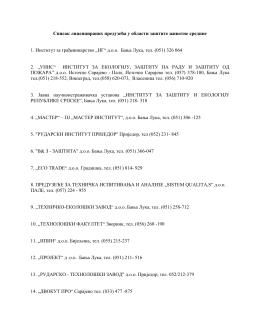 Списак лиценцираних предузећа у области заштите животне