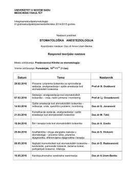 raspored nastave iz stomatološke anestezije za studente medicine
