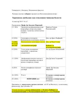 Преузмите распоред - Универзитет у Београду Медицински