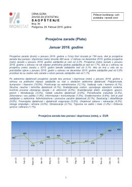 Prosječne zarade (Plate) Januar 2016. godine