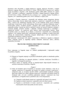 Pravilnik o dodjeli Rektorove nagrade - Fsb