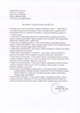Obavijest kandidatima natječaja objavljenog 3.2.2016.