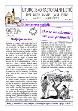 liturgijsko pastoralni listić - Župa Sv. Šimuna i Jude Tadeja
