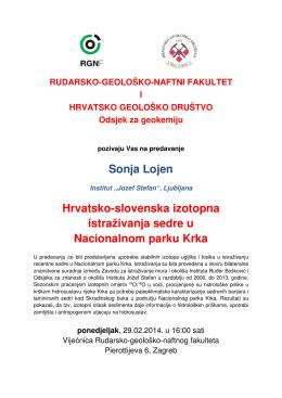 Sonja Lojen Hrvatsko-slovenska izotopna istraživanja sedre u