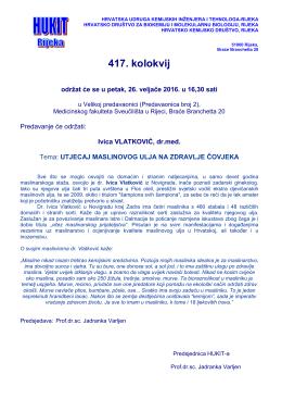 Pozivnica 417. kolokvij HUKIT Rijeka