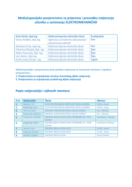 Vremenik međužupanijskog natjecanja elektromehaničara 2016.