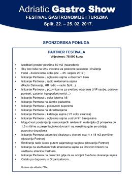 Sponzorska ponuda - Adriatic Gastro Show