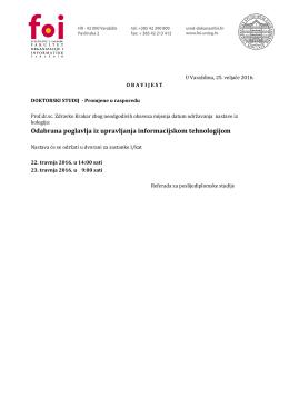 Odabrana poglavlja iz upravljanja informacijskom tehnologijom