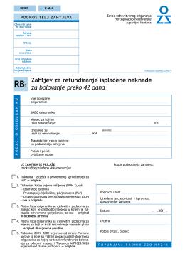 Zahtjev za refundiranje isplaćene naknade za bolovanje preko 42