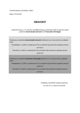 Raspored predavanja - Tehnički fakultet Rijeka