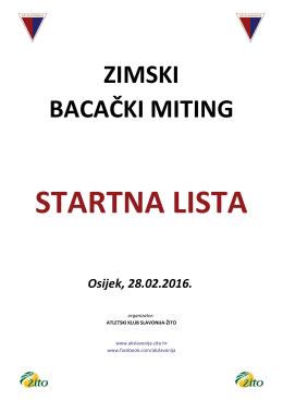 Startna lista - AK Slavonija