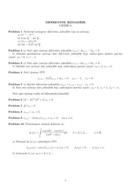 DIFERENTNE JEDNAD=ZBE VJE>ZBE 9. Problem 1 Formirati