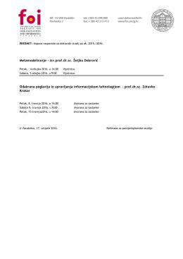 Dopuna rasporeda predavanja od veljače do srpnja 2016
